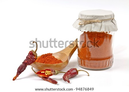 Ground red pepper as a spice made from dried chillies - stock photo
