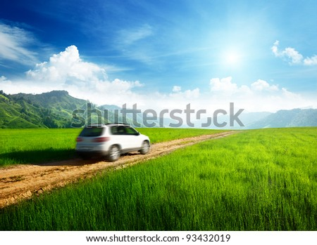 ground road and blurred car - stock photo