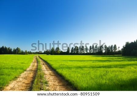 ground road and sunset - stock photo