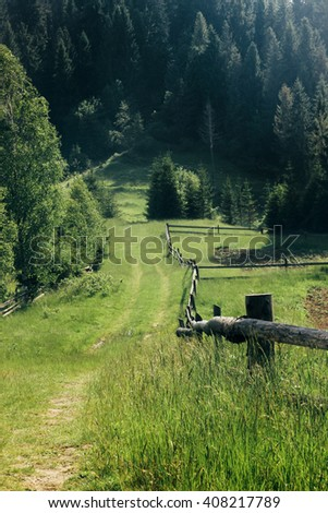 ground road with grass and wooden fence for fields in country in sunny woods in summer mountains - stock photo