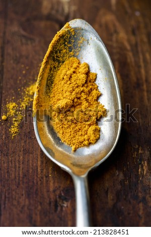 Ground turmeric in a silver spoon - stock photo