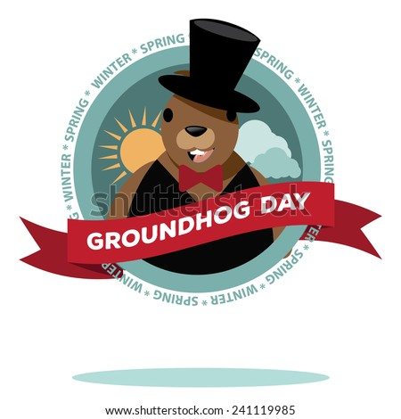 Groundhog Day icon design. stock illustration. - stock photo