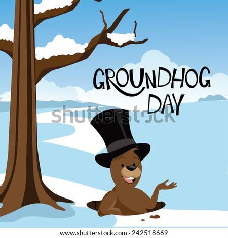 Groundhog Day snowy scene stock illustration - stock photo