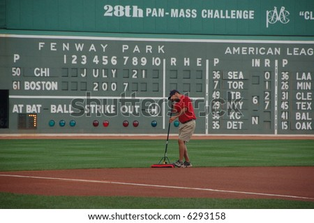 Grounds crew member, Fenway Park, Boston, MA - stock photo
