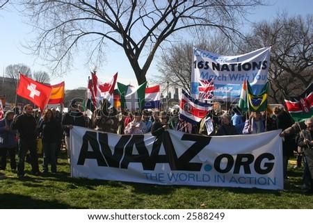 Group at anti war rally on the National Mall, Washington, DC, Saturday, January 27, 2007. - stock photo