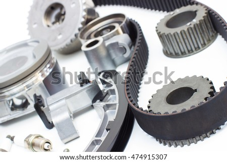 Group Automobile Engine Parts Isolated On Stock Photo & Image ...