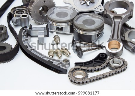 Group Automobile Engine Parts Isolated On Stock Photo (100% Legal ...