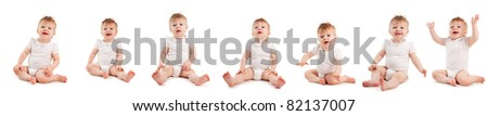 Group baby on a white background. Collage - stock photo