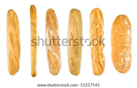 Group baguettes isolated on white . Different varieties. Top view panoramic - stock photo