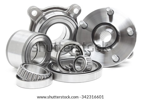 Group bearings and rollers (automobile components) for the engine and chassis suspension - stock photo