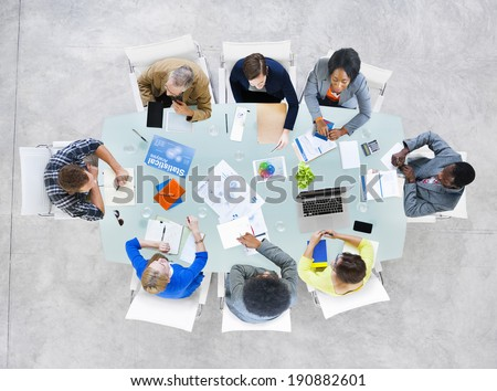 Group Business Peopl Discussing Business Isuses - stock photo