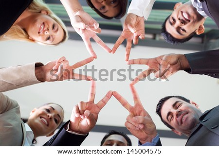 group business people hands forming a star shape - stock photo