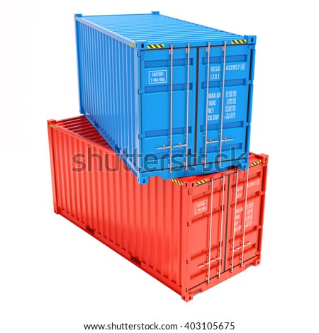 Group cargo containers isolated on white background 3d