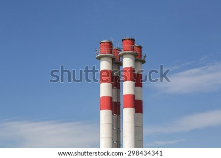 Group 4 chimneys, Group of pipes of the thermal power station - stock photo
