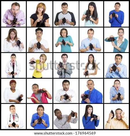 Group collage of multicultural shocked, bankrupt people, business men, women, students, doctors, engineers, teachers, workers, employees holding, showing empty wallet. Bad economy, financial fraud  - stock photo