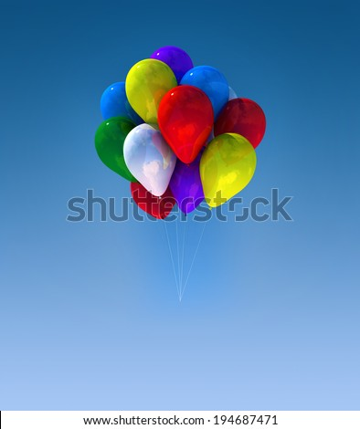 group colorful balloons flying in the sky - stock photo