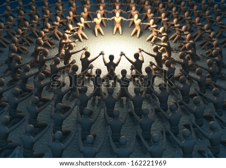 Group, crowd of people, figures worshiping praying to a lit up center, 3d rendering - stock photo
