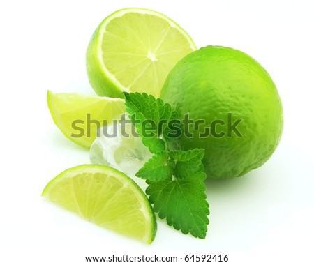 Group cut citruses with mint and ice ,. Mojito