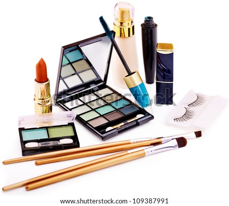 Group decorative cosmetics for makeup. - stock photo