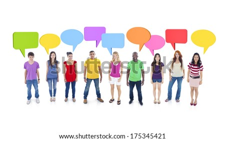 Group Discussion with Speech Bubbles - stock photo
