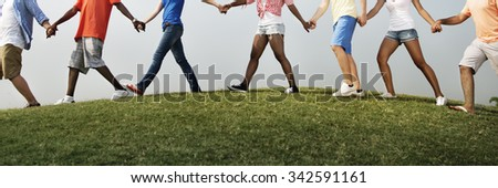 Group Friends Outdoors Holding Hands Unity Concept - stock photo