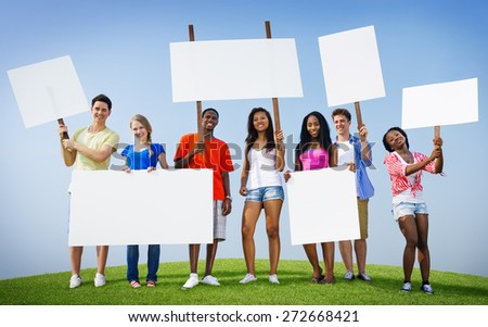 Group Friends Outdoors Placard Expression Cheering Team Concept