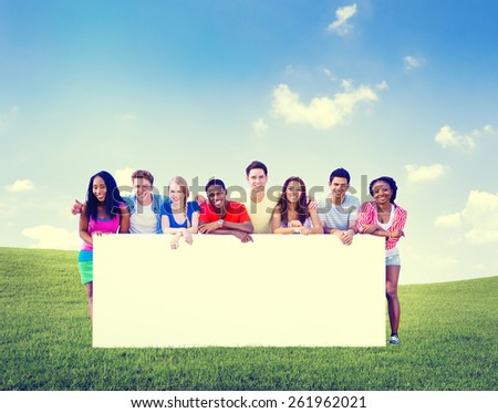 Group Friends Outdoors Team Holding Space Fun Concept