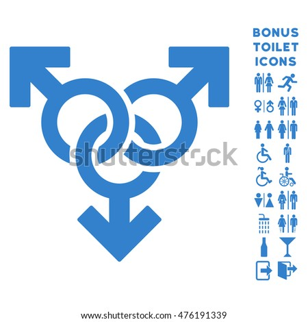 Group Gay Sex icon and bonus male and woman lavatory symbols. Glyph illustration style is flat iconic symbols, cobalt color, white background.