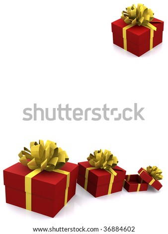 group gift boxes on white. 3d