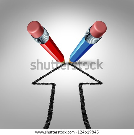 Group goals and joining forces together as a team partnership for business success as a red and blue pencil drawing an arrow going up as a financial icon of a strong relationship for wealth growth. - stock photo