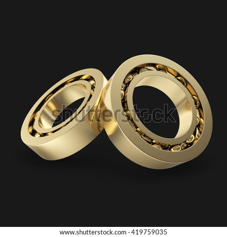 Group gold bearings isolated on black background. 3d illustration - stock photo