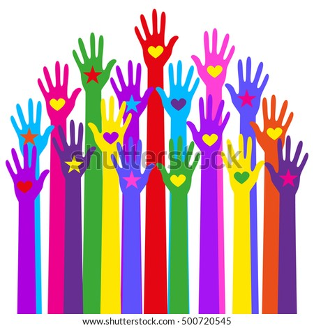 Group hands of different colors. and illustration