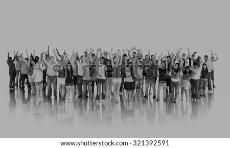 Group Happy Student Community Togetherness Concept - stock photo