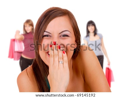 group happy young adult women shopping - stock photo