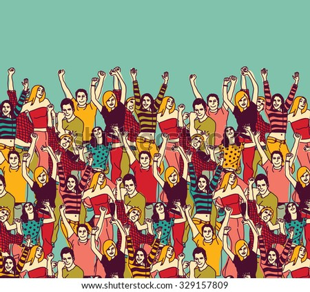 Group happy young people audience and sky color. Group of active happy people team illustration.  - stock photo