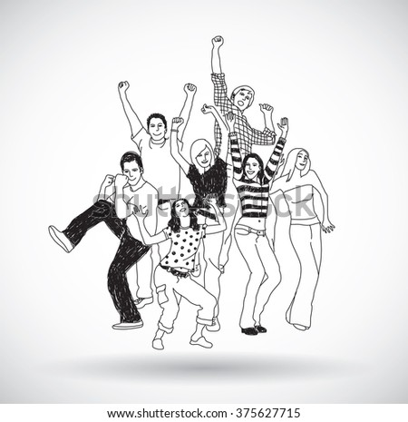 Group happy young people isolate black and white. Gray scale illustration.
