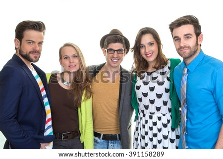 group happy young smiling people - stock photo
