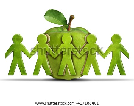 Group health and community health care or healthcare concept as a green apple with cut out fruit shaped as humans holding hands together as a symbol for society wellbeing in a 3D illustration style. - stock photo