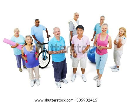 Group Healthy People Fitness Exercise Gym Concept - stock photo
