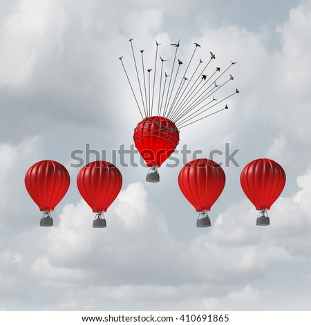 Group help concept competitive edge and business advantage concept as a group of 3D illustration hot air balloons racing to the top but an individual leader helped by a flock of birds lifted highest. - stock photo