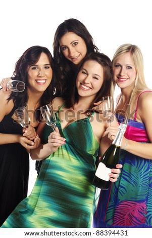 Group image of young women at a party - White background