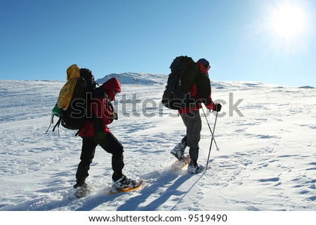 Group in winter mountain