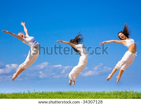 group jump - stock photo