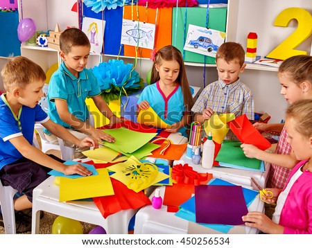 Group Kids Making Something Out Colored Stock Photo