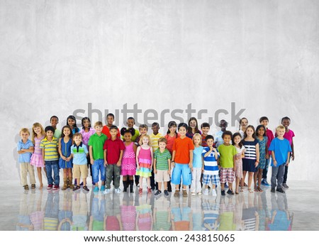 Group Kids Children Diversed Casual Together Global Concept - stock photo