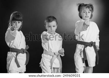 Group Kids Karate martial Arts - stock photo
