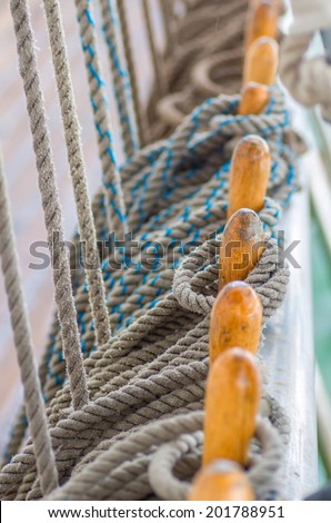 Group knot of rope - part snap vessel - stock photo