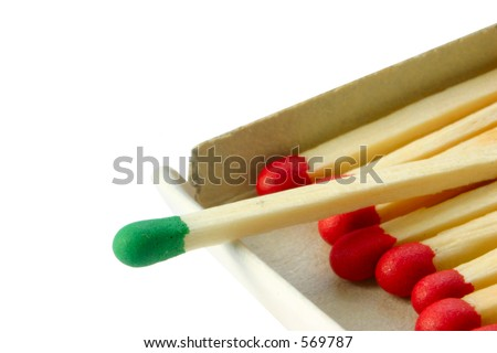 Group Leader - focus is set on the green match - stock photo