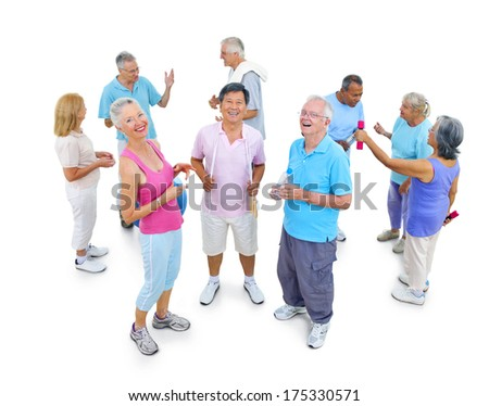 Group Mature Fitness People