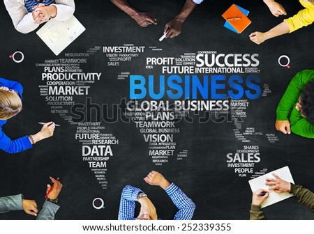 Group Multiethnic People Discussing Business Global Issues Concept  - stock photo